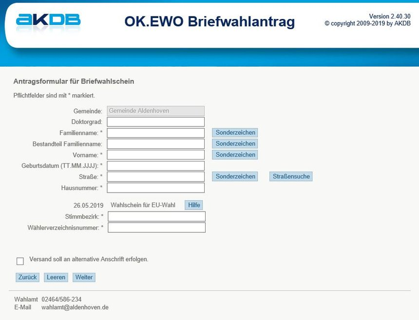 Screenshot Online-Briefwahlantrag